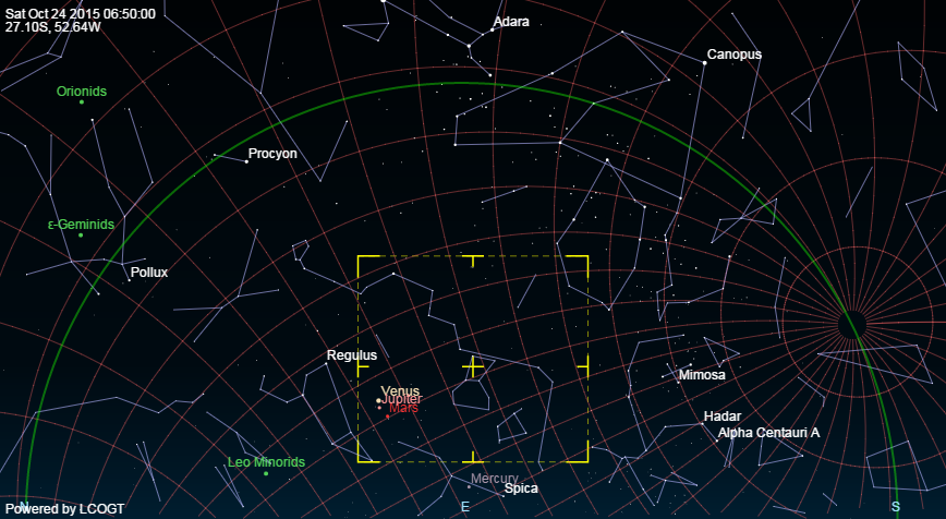 Mapa de estrelas e campo de visão da câmera (com pequeno desvio de apontamento)