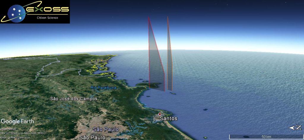 Projeções do mesmo evento obtidas através dos relatos de testemunhas (vermelho) e dados das estações (laranja)