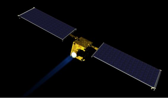 Modelo artístico espacial da NASA's Double Asteroid Redirection Test (DART). O DART, que está em fase preliminar do projeto, seria a primeira missão da NASA a demonstrar uma técnica de deflexão de asteroides para a defesa planetária. [Imagem: NASA / JHUAPL]