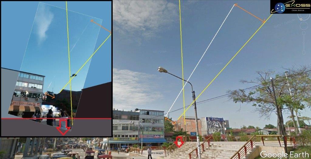 Comparações de ângulos para estimativa de trajetória BIDIMENSIONAL a partir de fotografia e dados Google Earth.