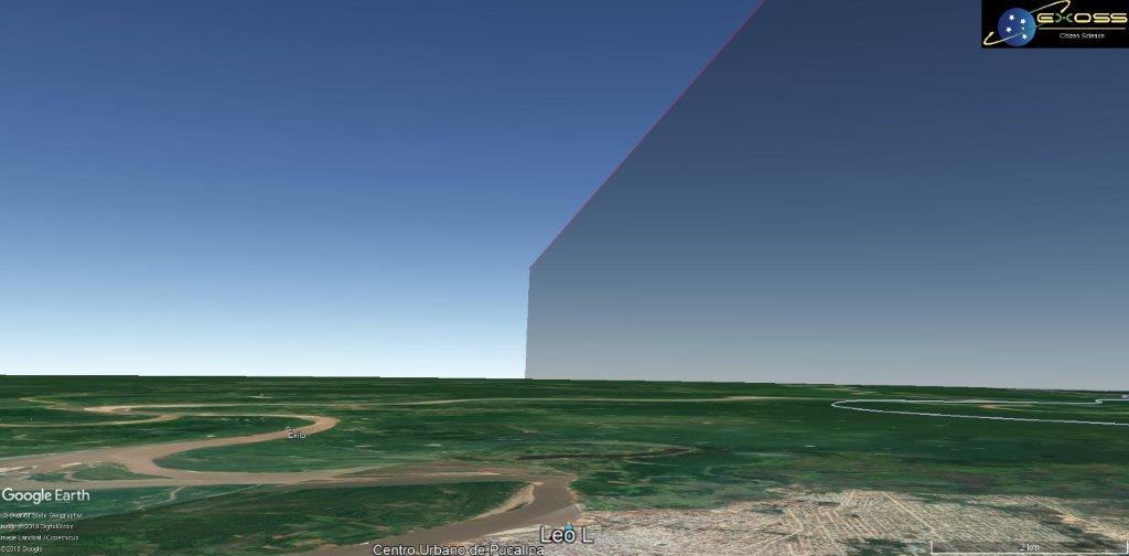 Perspectiva regional a partir da praça de Pucallpa – Trajetória 3D estimada e incompleta por problemas de renderização.