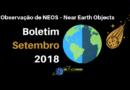 Observação de NEOS – Near Earth Objects – Boletim setembro 2018