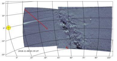 Trilha de poeira de chuva de meteoros Geminids é vista pela primeira vez